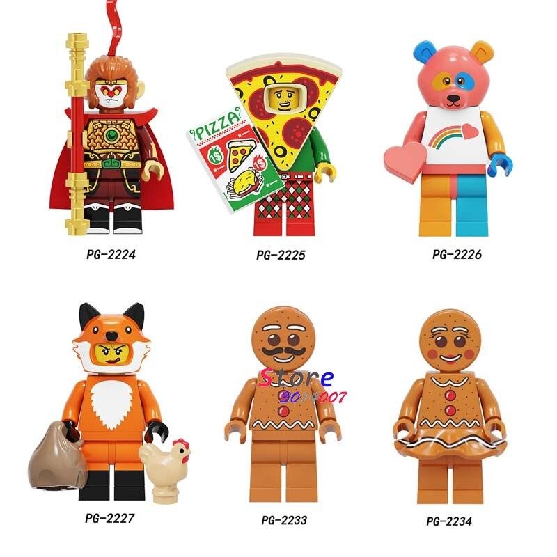 Single Cartoon Movie Series Sun Wukong Fox Girl Pizza Man Bear Animal Elephant Elk Bald Eagle Unicorn Building Blocks Kid Toy