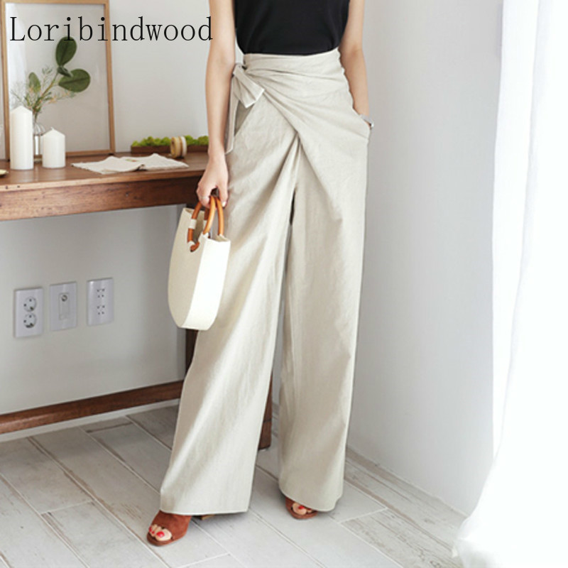 Spring Summer High Waist Lace-up Casual Flax Pants Women Soft Female Wide Leg Pants Loose Solid Trousers Femme 2020