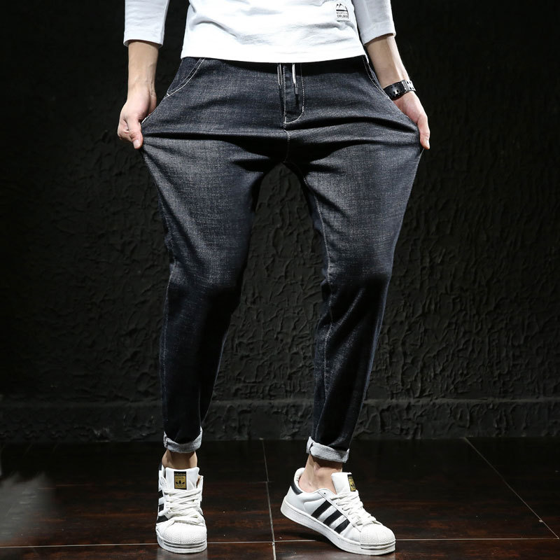 2019 Spring New Style Loose-Fit Jeans Wholesale Men Elasticity Large Size Medium Waist Europe And America Harem Skinny Jeans