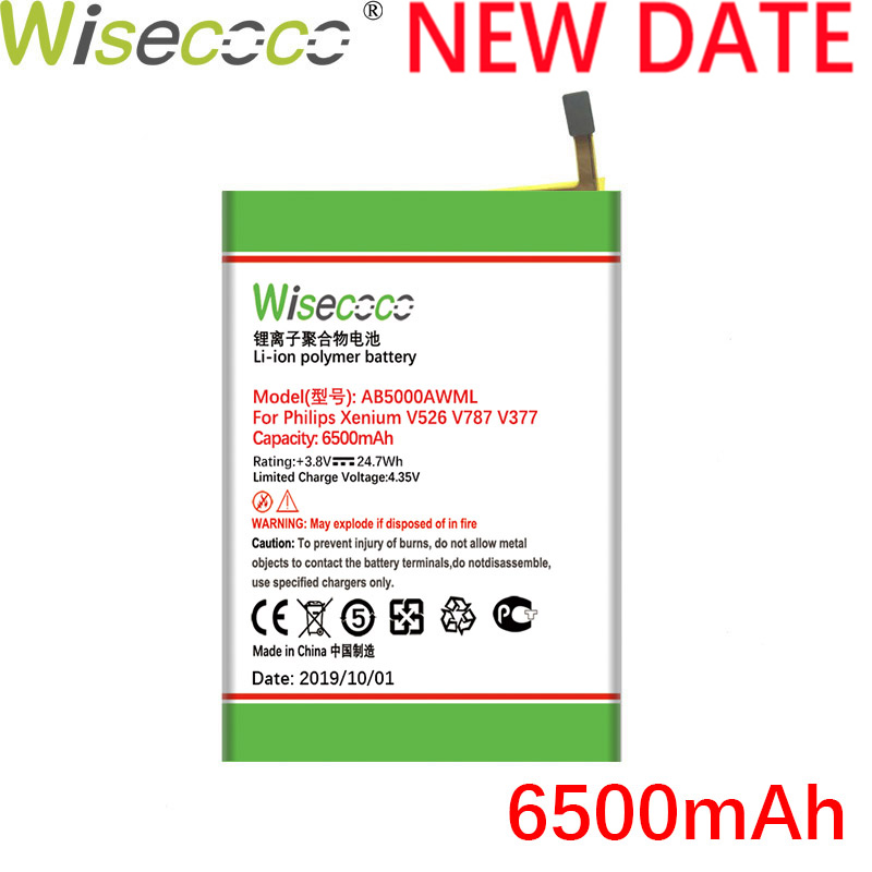 Wisecoco AB5000AWMT 6300mAh New Battery For Philips Xenium V787 CTV787 V526 CTV526 V377 CTV377 Phone + Tracking Number
