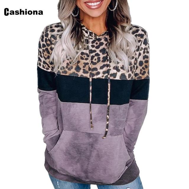 Cashiona 2020 Women Hoodie Sweatshirts Autumn Long Sleeve Patchwork Color Leopard Printed Tops Plus size Femme Casual Sweatshirt 6