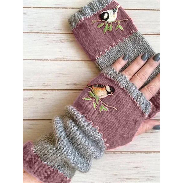 Women Stylish Hand Warmer Winter Gloves Arm Crochet Knitting Faux Wool Flowers Mitten Warm Fingerless Glove Gants Femme #W3 6