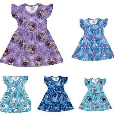 Toddler Princess Girls Dress Summer Flutter Sleeve Elsa 2 Dress Milk Silk Birthday Party Dress Snow QueenDress