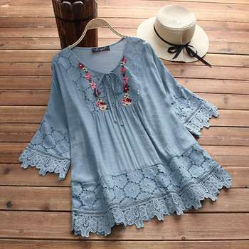 цена на ZANZEA 2020 Summer Lace Crochet Blouse Women Patchwork Lace Up Shirts Chemise Hollow Blusas Tunic Tops Casual Tee Plus Size