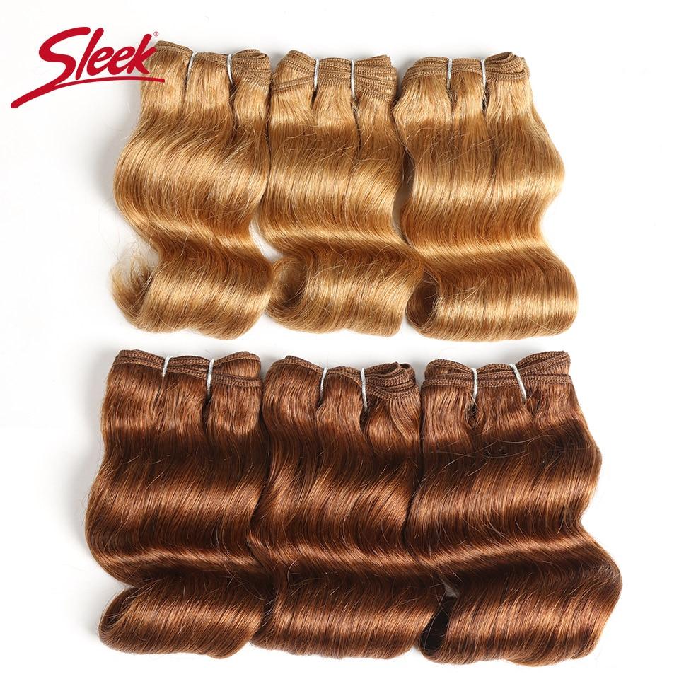 Sleek Hair Brazilian Body Wave Remy  Human Hair Double Drawn Piano Color 4/27#  27 Color 30# Burg# Bundles Hair Extension 3Pcs