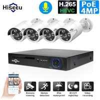 H.265 48V 8CH 4MP Sistema de poe nvr al aire libre PoE IP cámara de seguridad cctv impermeable infrarrojo Hiseeu