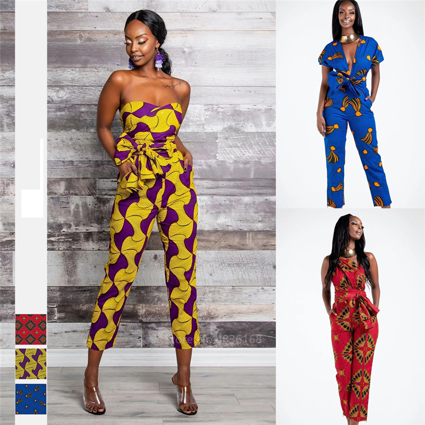Fashion Ladies 2020 News African Clothes Ankara Style DIY Bandage Robe Africaine Dashiki Jumpsuit Ethnic Sexy Dresses For Women
