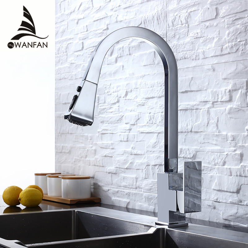 Kitchen Faucets Chrome Single Handle Pull Out Kitchen Tap Single Hole Handle Swivel 360 Degree Water Mixer Tap Mixer Tap 866399L