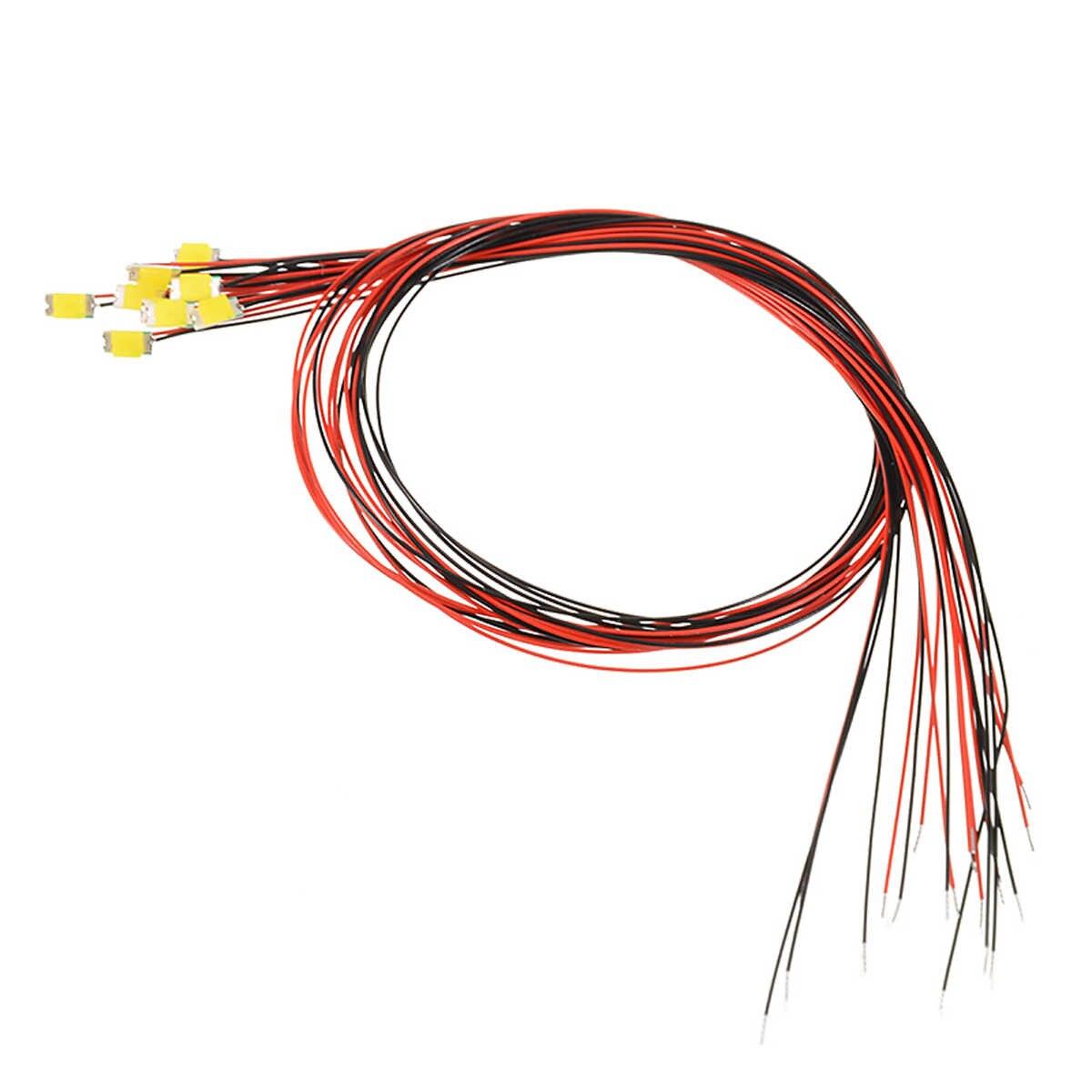10 個 1206 smd 事前ハンダ付けマイクロリッツ有線リードウォームホワイト smd は 200 ミリメートル 2.8 v 3.4 用スモールモデル diy