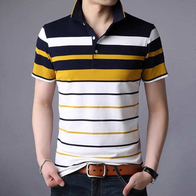 Men Classic Striped Polo Shirt Cotton Short Sleeve NEW Arrived 2021 summer Plus size M-XXXXL 2