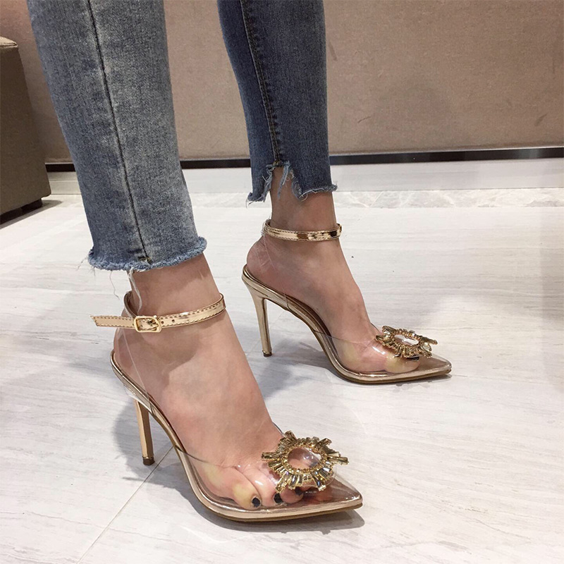 MCCKLE Women Sandals Transparent Pointed Toe Jelly Shoes High Heels Ladies Fashion Casual Slip On Female Gold Sandalias 2020