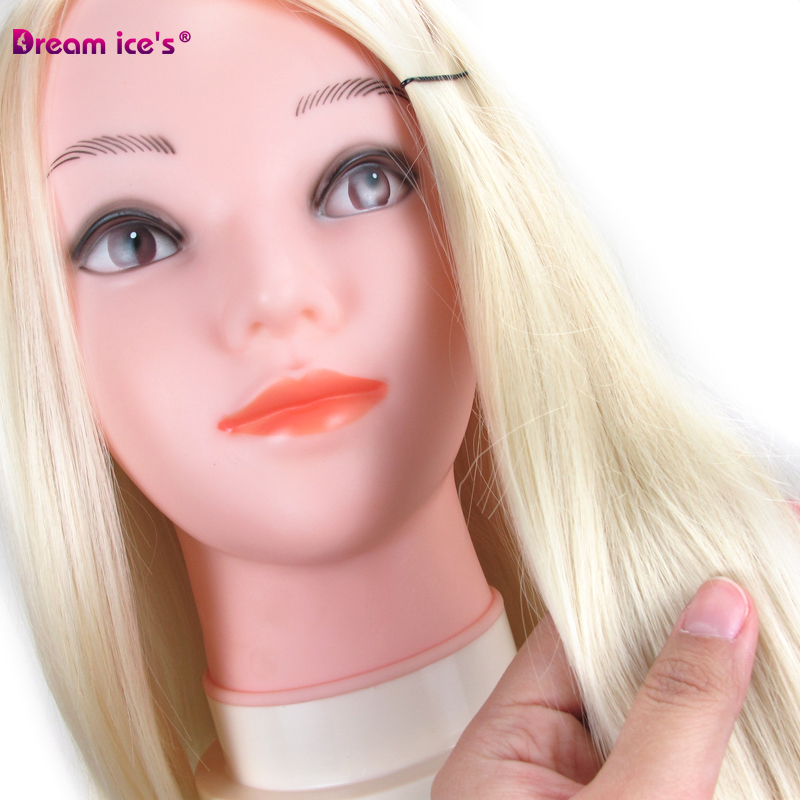Dream Ice's 12-24 inch hair practice training head model and hairdressing salon model doll head white black synthetic human hair