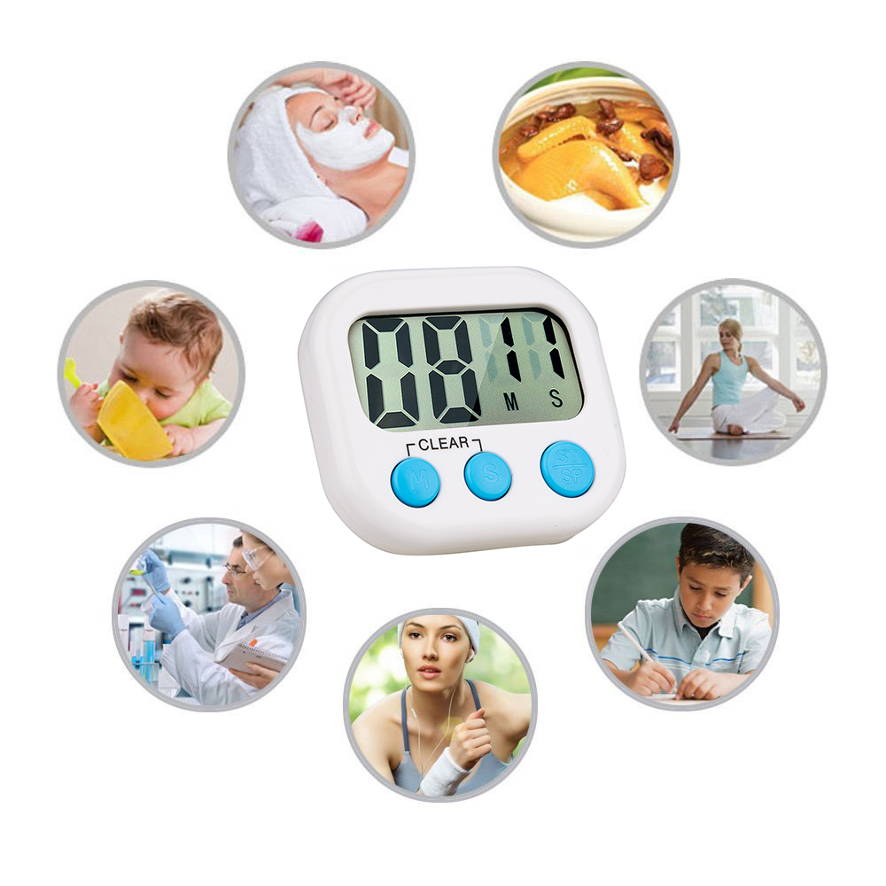 Digital Kitchen Timer Big Digits Loud Alarm Magnetic Backing Stand with Large LCD Display for Cooking Baking Sports Games
