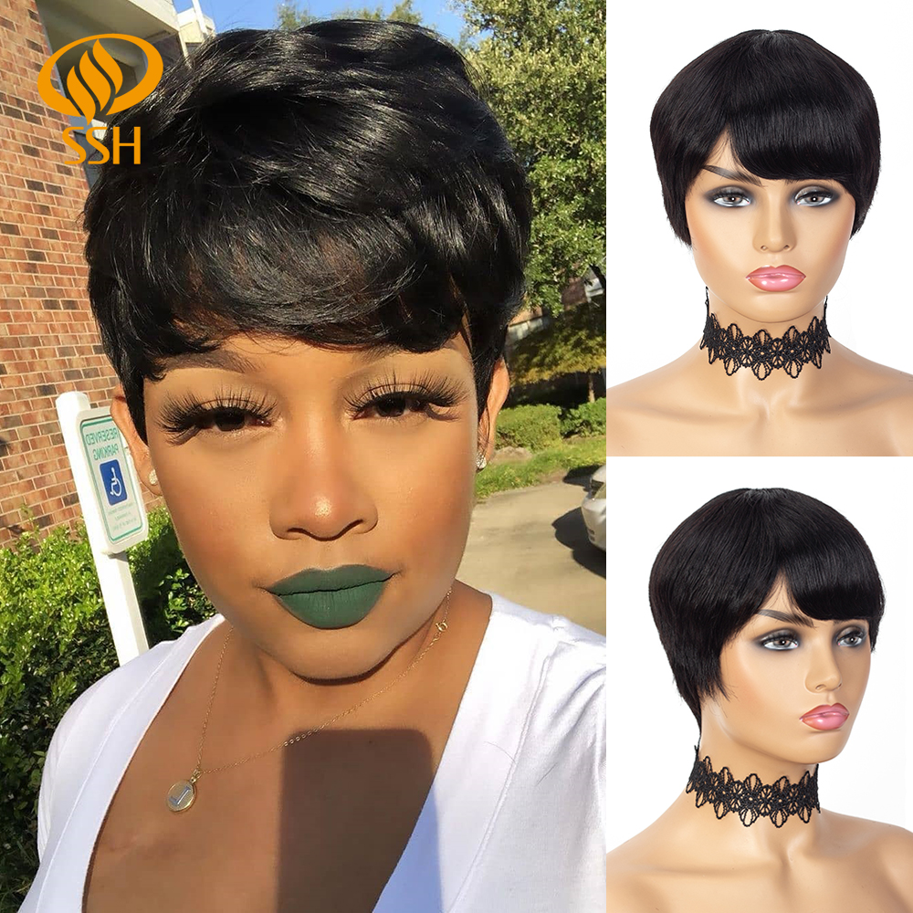 SSH Machine Made Pixie Cut Straight Short Human Hair Wigs For Black Women Brazilian Remy Human Hair Wig Natural Black Color