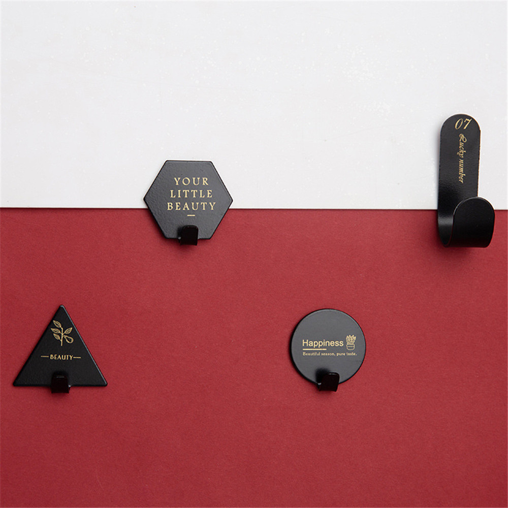 4pcs Hook Household Kitchen Wall Door Stainless Steel Hook Hanger Creative Letter Cactus Key Bag Black White Kitchen Wall Hooks