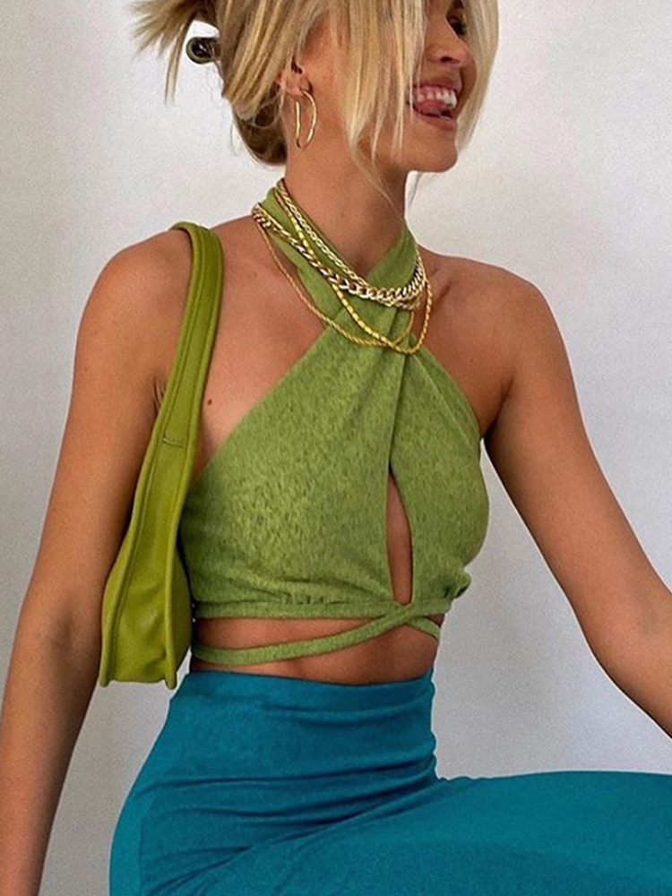 Crop-Tops Bandage Club Chic-Wrap Streetwear Backless Party Sexy Green HALTER Cryptographic