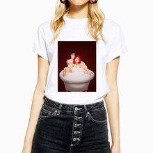Bonita camiseta Harajuku de manga corta para mujer, camisetas de talla grande, camisetas Vintage de Ariel y Eric, Camiseta de algodón con cuello redondo y estampado de dibujos animados