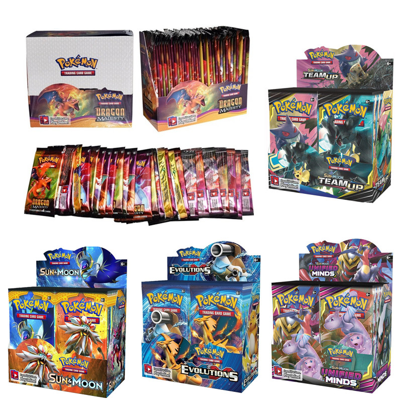 324pcs/box Pokemon Cards All Series TCG: Sun & Moon Series Evolutions Booster Box Collectible Trading Card Game Kids Toys