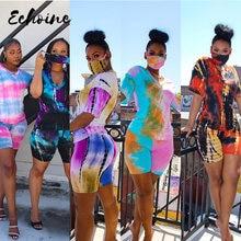 Женские спортивные костюмы из 3 предметов с принтом tie dye