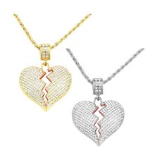 Fashion Broken Heart Pendant Necklaces Women Men Hip Hop Jewelry Rhinestone Gold  Long Chain Necklace fashion wild necklace symmetrical five petal flower blue rhinestone elegant rhinestone pendant sweater long necklace jewelry