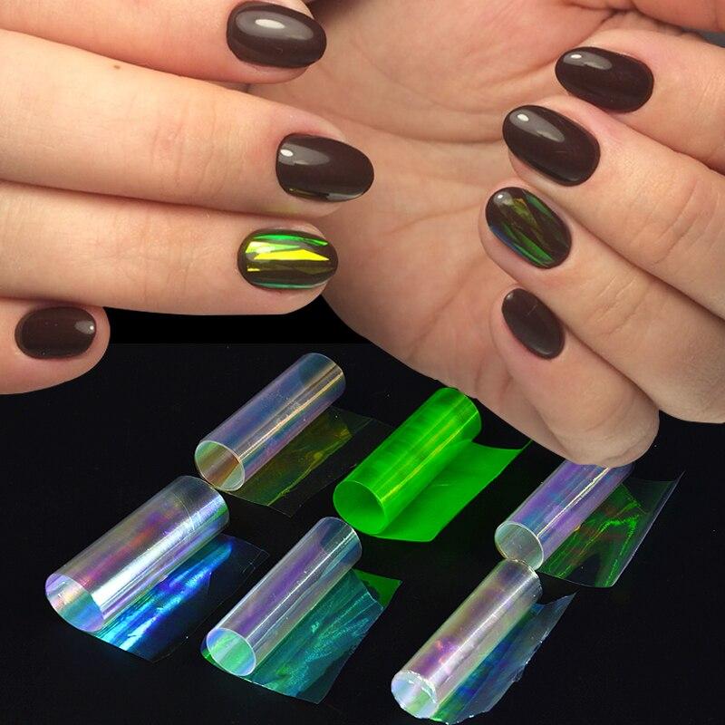 6 цветов s/упаковка дизайн ногтей стекло разбитое украшение фольга высокий светильник DIY Дизайн ногтей рулон стикер AB цветная фольга