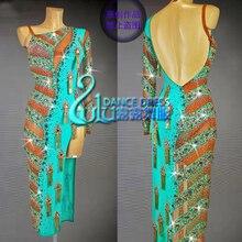Personalizzabile Gara di Ballo Latino del vestito da ballo Latino Menta Verde del vestito da ballo latino