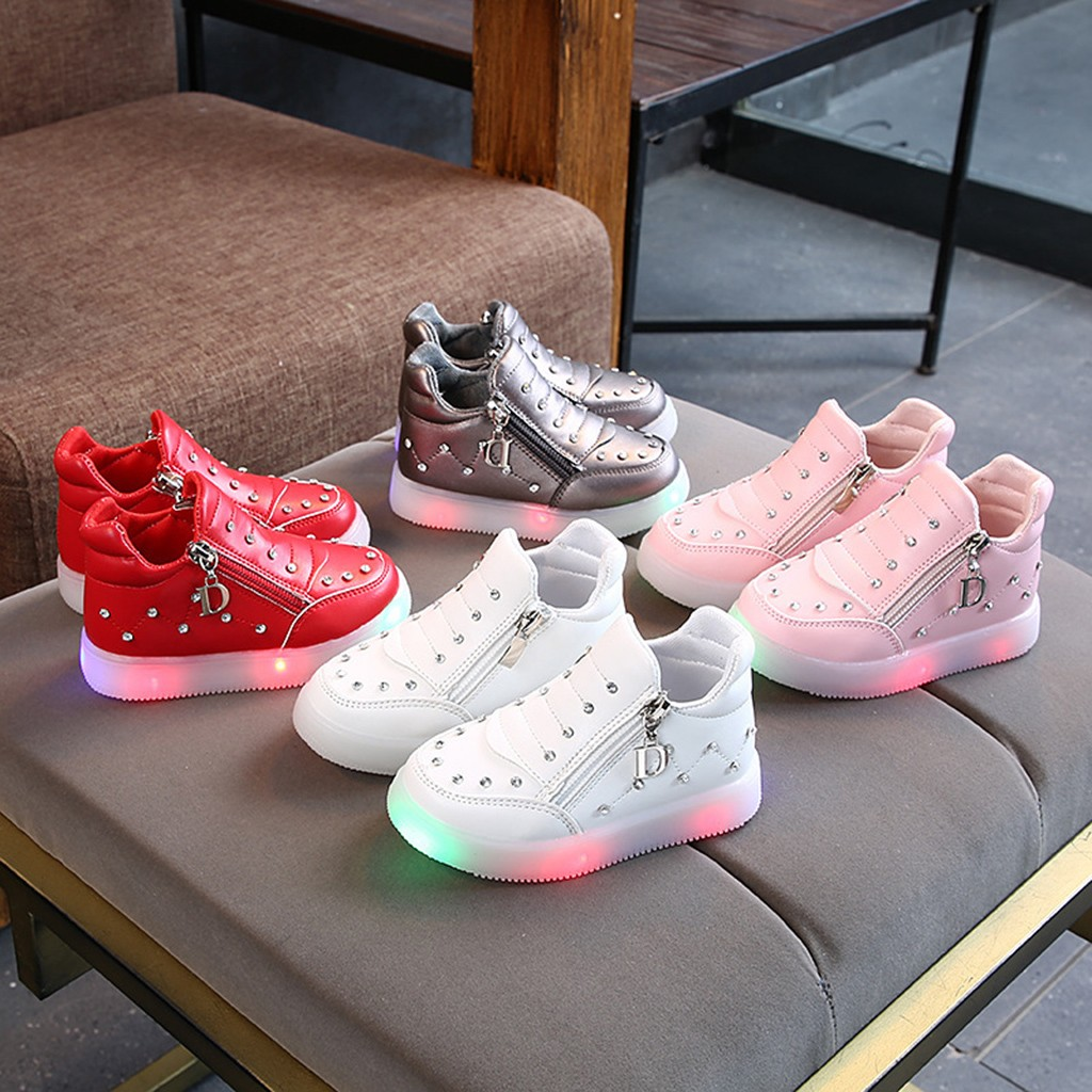 Children Baby Girls Crystal Zipper Led Light Luminous Short Boots Booties Shoes Kids Lighting Shoes Baby Gift