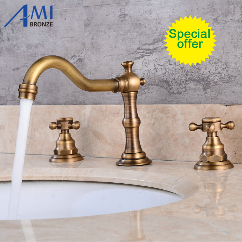 Wall Mounted Antique Brass Clawfoot Bathtub Basin Sink Mix Tap Waterfall Faucet