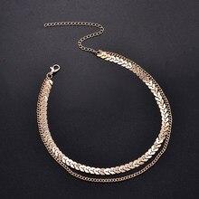 Nova moda fishbone chain sequin metal em forma de v manual avião tatuagem colar de corrente jóias femininas