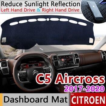 สำหรับ Citroen C5 Aircross 2017 2018 2019 2020 Anti-Slip Mat Dashboard ฝาครอบบังแดด Dashmat อุปกรณ์เสริมพรม c5-Aircross