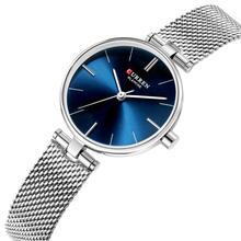 CURREN Top Brand Women Watch Luxury Wrist Casual Fashion Mesh Quartz Watches Silver Stainless Steel Business Ladies