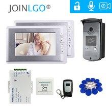 """Com fio 7 """"telefone video da porta vídeo porteiro campainha sistema de entrada 2 monitores rfid câmera + controle remoto frete grátis"""