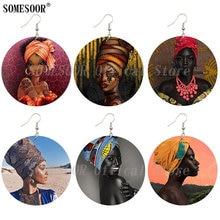 Drop-Earrings Headdress-Design Wooden Black Women SOMESOOR Round for Gifts Dangle Both-Print