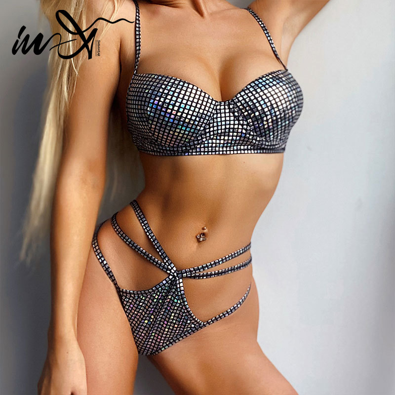 In-X Push Up Bikini 2020 Silver Swimsuit Female Sexy String Bikinis Underwire Swimwear Women Summer Bathing Suit Thong Biquini