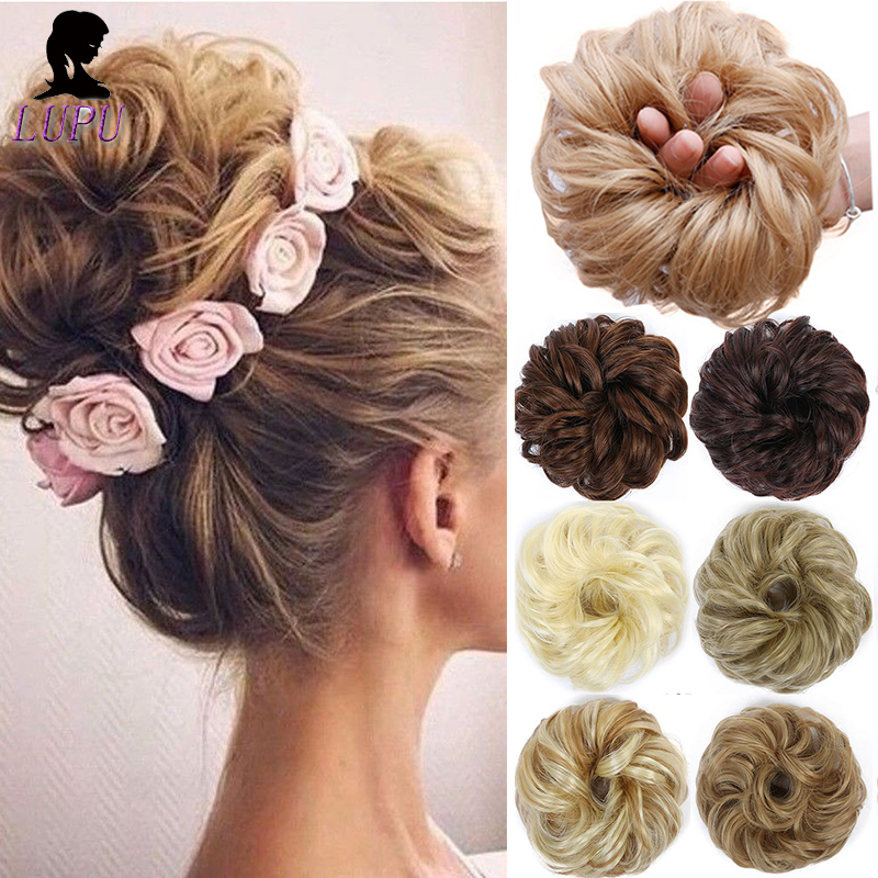 LUPU Womens Curly Scrunchie Synthetic Chignon With Elastic Band High Temperture Fiber Wrap Ponytail Messy Bun Hairpieces
