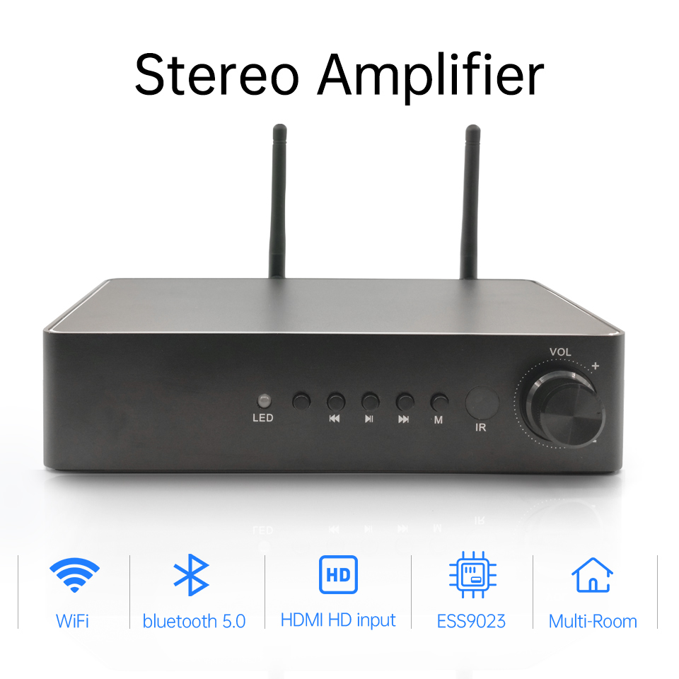WA60 60W*2 Home WiFi and Bluetooth HiFi Stereo Class D Digital Multiroom Amplifier with Spotify Airplay Equalizer Free App