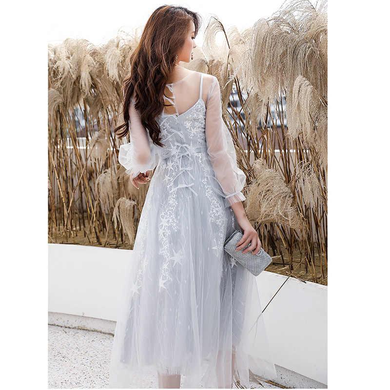 זה Yiiya שמלות נשף אשליה שלוש רובע שרוול O-צוואר קצר שמלה לנשף אלגנטי אונליין רקמת Vestidos דה גאלה LF227