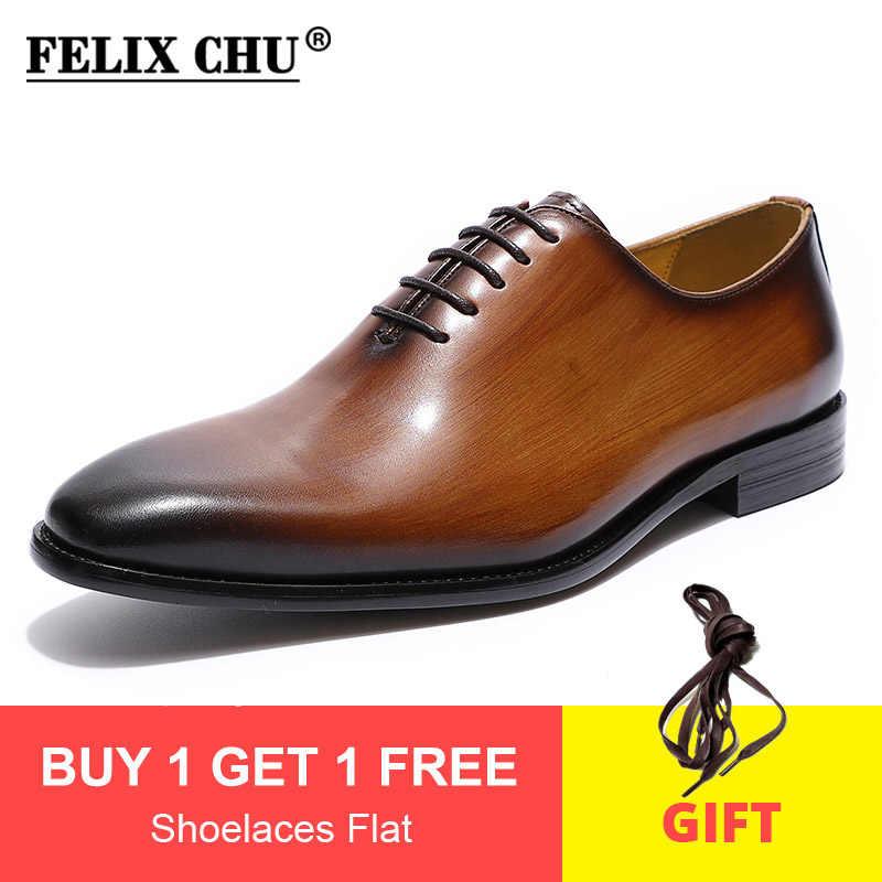 Felix Chu Nam Đồng Bằng Mũi Giày Wholecut Oxford Da Thật Chính Hãng Da Đầm Giày Nâu Đen Tay Giày Nam Chính Thức giày Người Giày