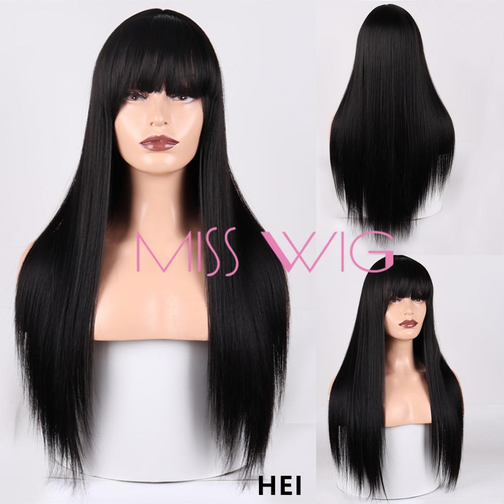 MISS WIG Blonde Long Straight Wig With Bangs Synthetic Hair Wigs Bang With Wig For Woman Black Brown Heat Resistant Wigs