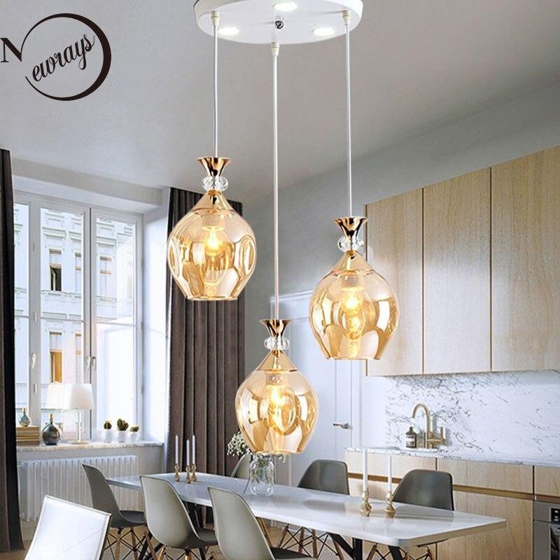 Nordic Restaurant Hanging lamp Modern Glass Pendant lamp LED E27 1&3 heads Pendant lights  for Restaurant Living Room Bedside Pendant Lights     - title=