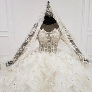 Image 4 - HTL1180 2020 Tiếng Ả Rập Áo Váy Dubai Tay Dài Ren Appliques Đầm Ảo Giác Lưng Petite Áo Cưới Đầm Vestido De Festa