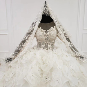 Image 4 - Свадебное платье HTL1180, арабские Свадебные платья es, Дубай, длинные рукава, кружевные аппликации, блестки, иллюзия, маленькая спина, свадебное платье