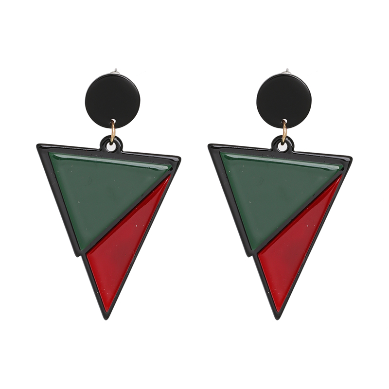 Simple Design Big Acrylic Earrings Green Red Patchwork Triangle Earrings For Women Luxury Punk Fashion Jewelry Pendientes Female
