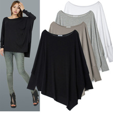 Осенняя женская рубашка с рукавом летучая мышь нерегулярная Свободная рубашка Топы Плюс Размер Блузка Большой размер индивидуальный вырез подол сплошной цвет