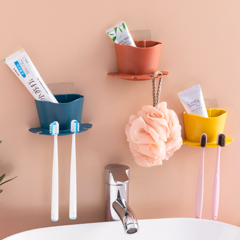 Bathroom Free Punching Toothbrush Holder Razor Storage Rack Bathroom Wall Hanging Brushing Teeth Wash Rack Shelf Toilet Room