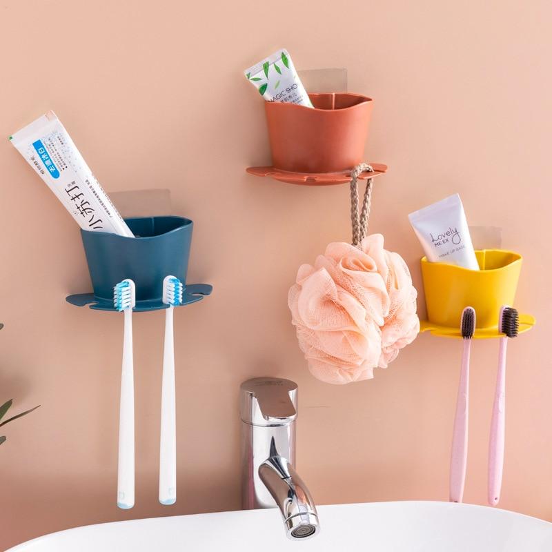 Bathroom Free Punching Toothbrush Holder Razor Storage Rack Bathroom Wall Hanging Brushing Teeth Wash Rack Shelf Toilet Room