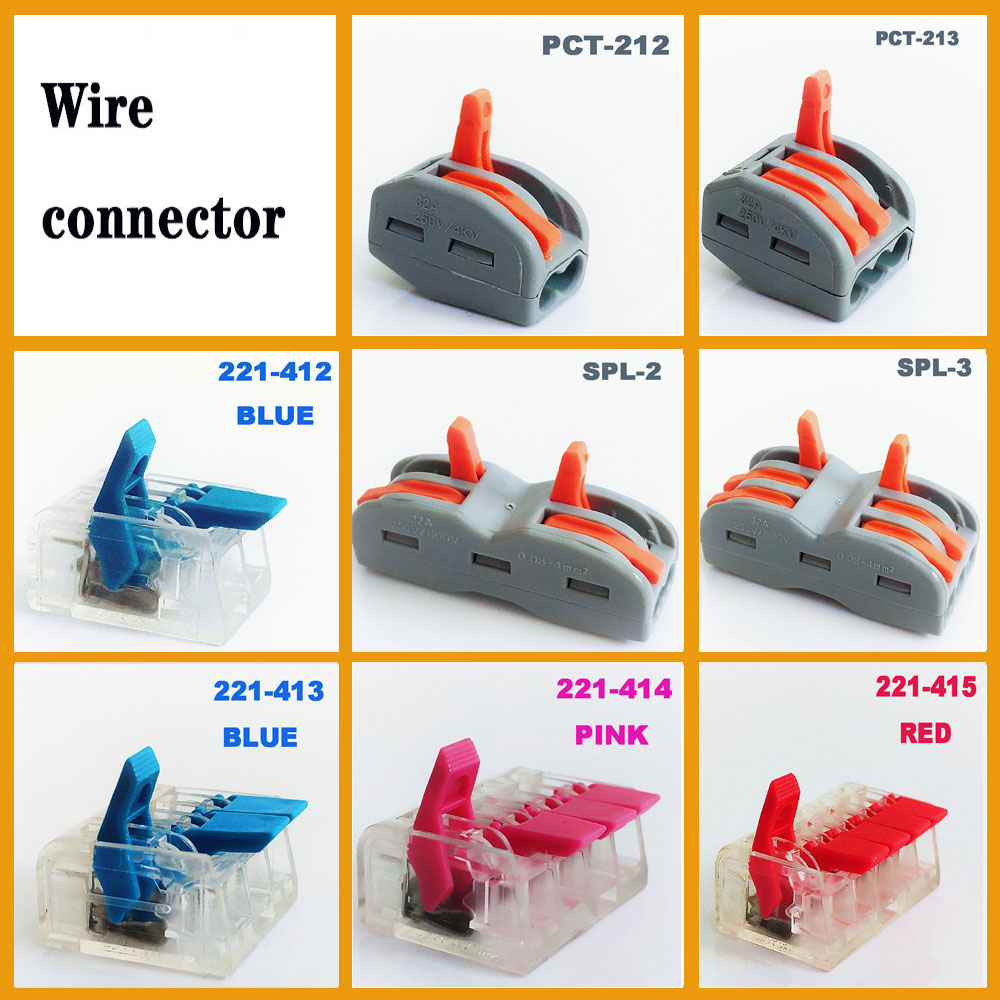 Wire Connector Plug-in Mini Fast Power Connector Wire Terminal Block PCT-212 PCT-213 Push In Electrical Cable Connector