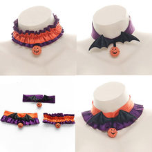 Women Halloween Neck ring Bat Wing With Pumpkin Bell Neck Ring Gothic Style Neck ornament Lolita Girl Choker Party Props Cosplay(China)