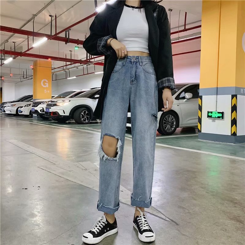Plus size ripped jeans women loose 2020 summer and autumn Korean version of the high waist was thin straight leg pants tide
