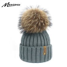 Children Adult Knit Beanie Hat With Real Fur Pom pom Winter